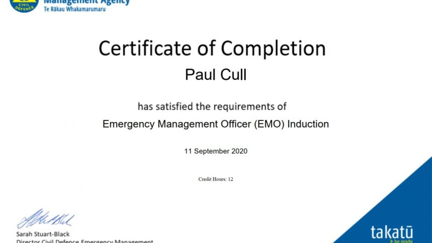 EMO Induction certificate