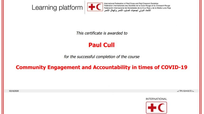 IFRC Community Engagement COVID19 certificate