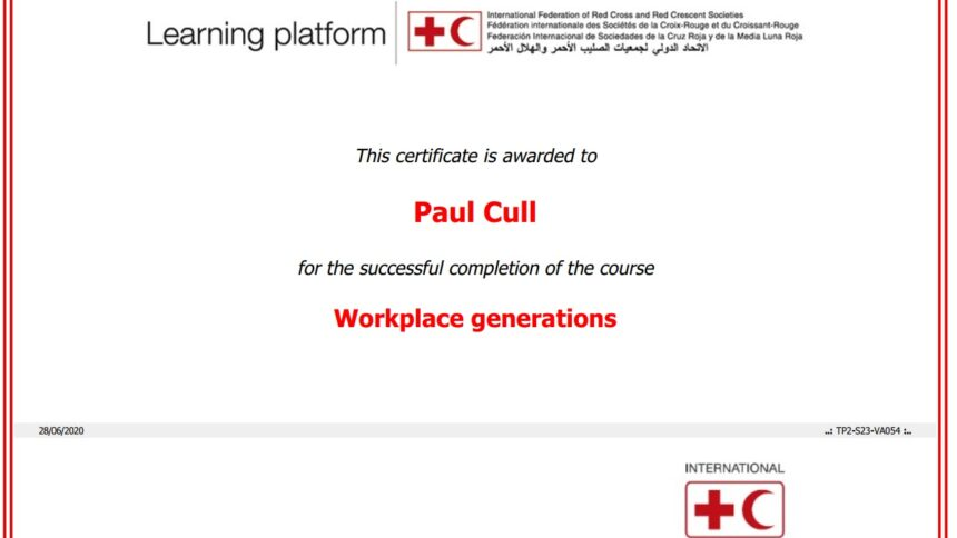 Workplace Generations certificate