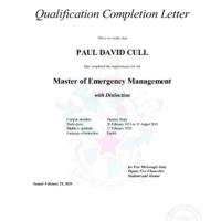 Master of Emergency Management completion letter